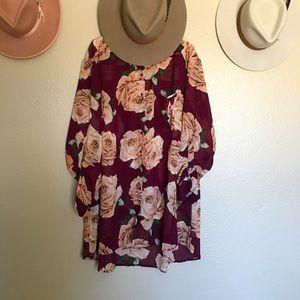 NWOT Women's Sheer Rose Tunic Button Down Blouse